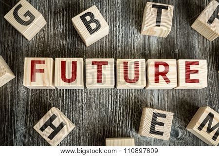 Wooden Blocks with the text: Future