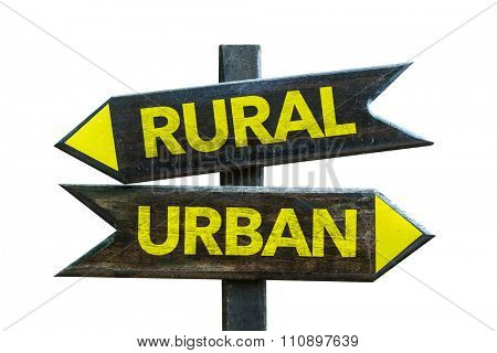 Rural - Urban signpost isolated on white background