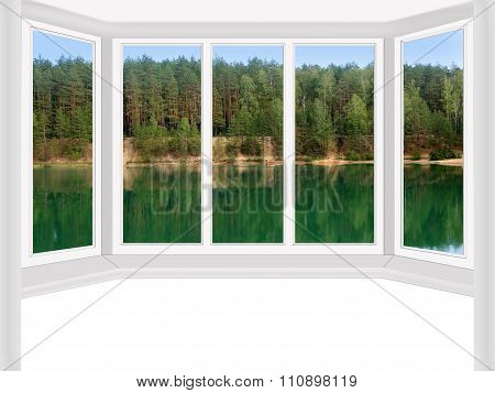 Modern Window To The Summer Forest Lake