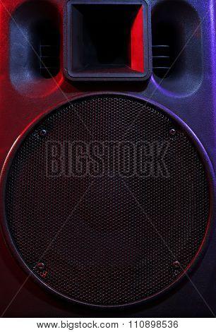 Black loudspeaker, close up