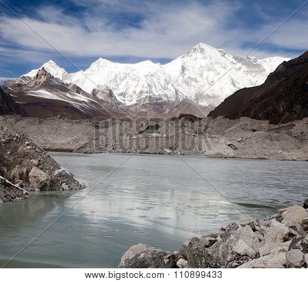 View Of Mount Cho Oyu And Lake On Ngozumba Glacier