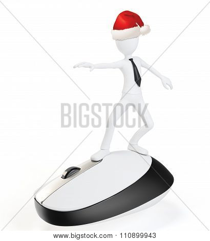 3D Man Surfing The Web On A Mouse