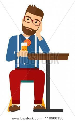 A sad hipster man with the beard sitting at bar with a glass of juice vector flat design illustration isolated on white background. Vertical layout.