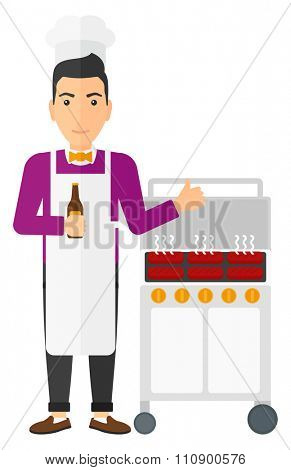 Man standing next to barbecue grill holding a bottle in hand and showing thumb up vector flat design illustration isolated on white background. Vertical layout.