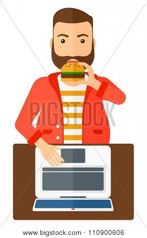 A fat man standing in front of a laptop while eating junk food vector flat design illustration isolated on white background. Vertical layout.