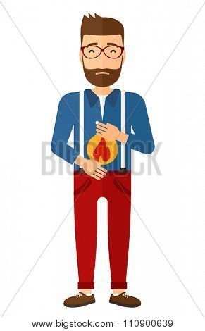 A hipster man with the beard suffering from heartburn vector flat design illustration isolated on white background. Vertical layout.