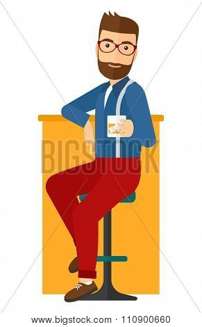 A hipster man with the beard sitting near the bar counter vector flat design illustration isolated on white background. Vertical layout.