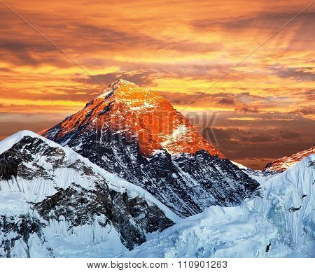 Evening Colored View Of Mount Everest From Kala Patthar