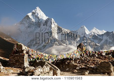 Prayer Flags And Mount Ama Dablam