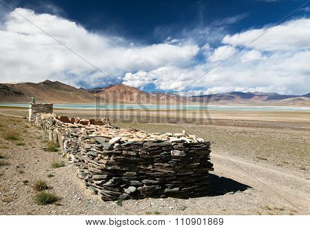 Lake And Lake Kar With Prayer Mani Walls, Ladakh