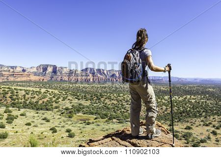Woman Looking at Landscape During Hike