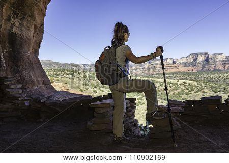 Woman Hiking Takes a Break