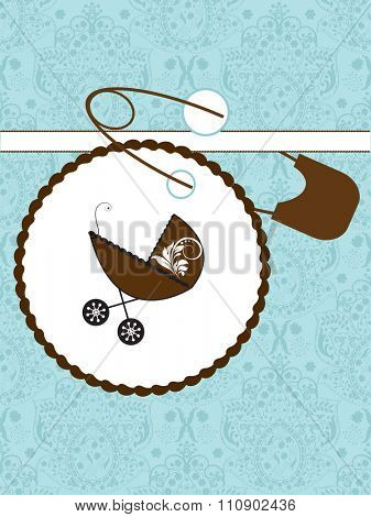 Vintage baby shower invitation card with ornate elegant retro abstract floral design, with baby carriage on cake and safety pin. Vector illustration.