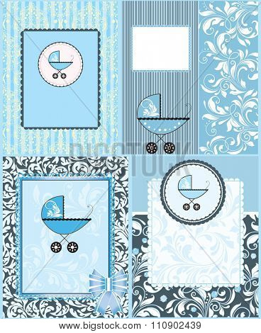 Set of four (4) vintage baby shower invitation card with ornate elegant retro abstract floral design, light blue with baby carriage. Vector illustration.