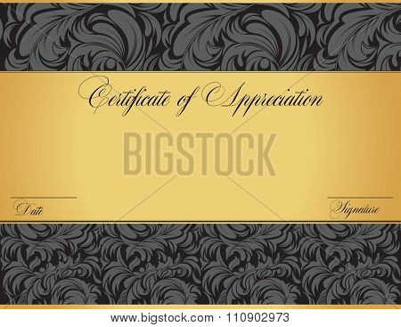 Vintage certificate of appreciation with ornate elegant retro abstract floral design, dark gray flowers and leaves on black and gold background. Vector illustration.