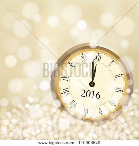2016 New Year Greeting Card With Glittering Golden Background And Vintage Clock