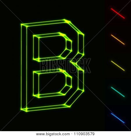 EPS10 vector glowing wireframe letter B - easy to change color