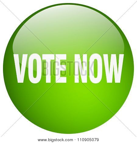 Vote Now Green Round Gel Isolated Push Button