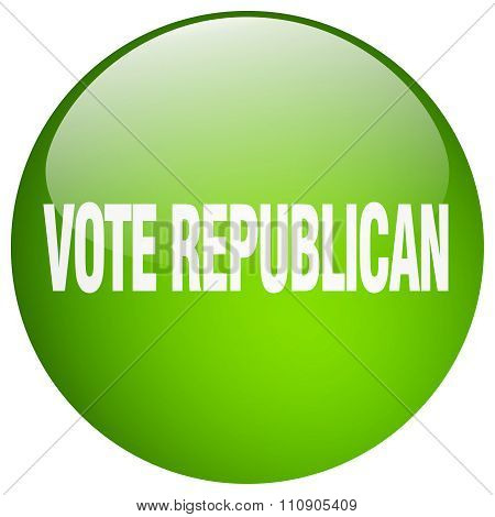 Vote Republican Green Round Gel Isolated Push Button