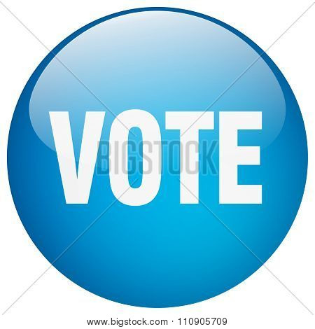 Vote Blue Round Gel Isolated Push Button