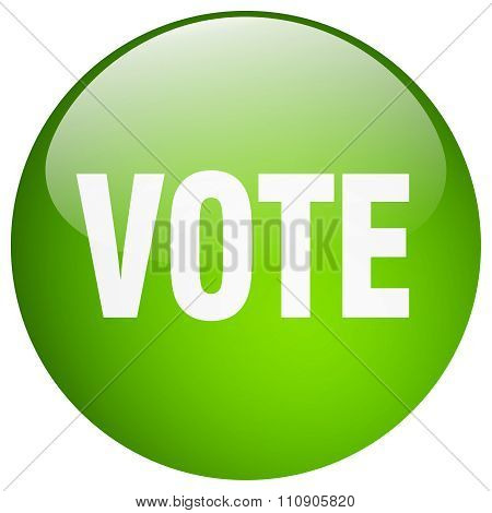 Vote Green Round Gel Isolated Push Button