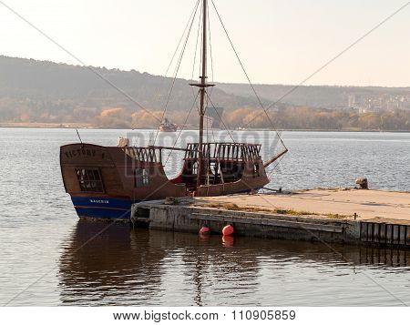 Varna, Bulgaria - 18 November, 2015: The Yacht In The Sea Port Of Varna. November 18, 2015 In Varna,