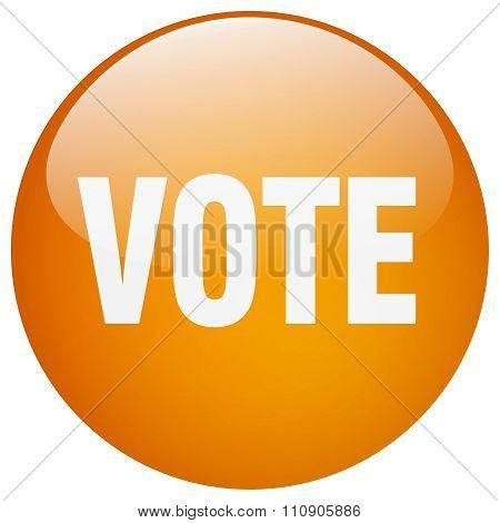 Vote Orange Round Gel Isolated Push Button