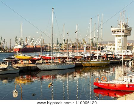 Varna, Bulgaria - 18 November, 2015: Commercial Sea Port Of Varna. November 18, 2015 In Varna, Bulga