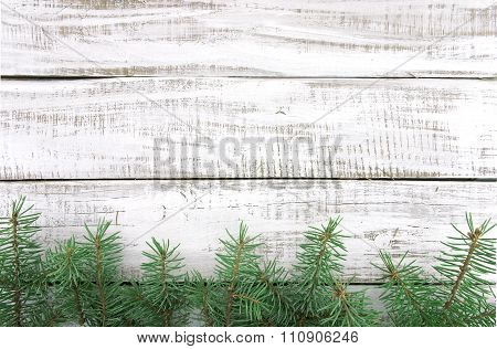 Christmas Tree On White Rustic Wooden Background With Copy Space For Text. Christmas Background Or G