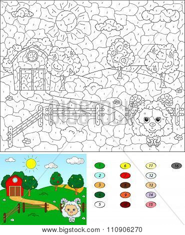 Color By Number Educational Game For Kids. Rural Landscape With Sheep, Barn, Corrals, Fruit-trees An