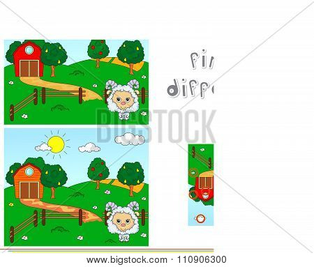 Rural Landscape With Barn, Corrals, Fruit Trees And Sheep. Educational Game For Kids: Find Ten Diffe
