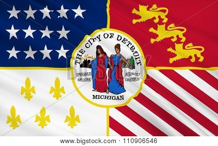 State Flag Of Detroit - The City In The North Of The Usa, In Michigan.