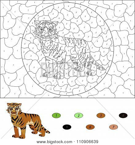 Color By Number Educational Game For Kids. Cartoon Saber-toothed Tiger. Vector Illustration