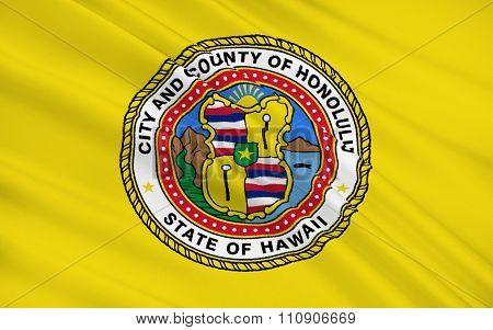 State Flag Of Honolulu - A City On The Island Of Oahu Of The Hawaiian Archipelago