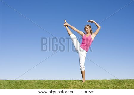 Woman doing Fitness and Yoga