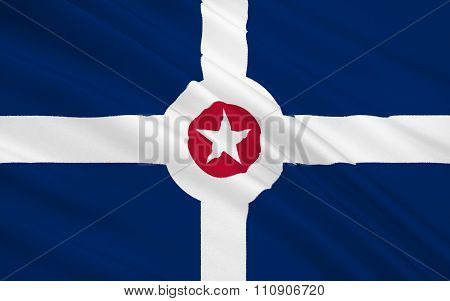 State Flag Of Indianapolis - A City In The Midwest, The Capital And Most Populous City In The State