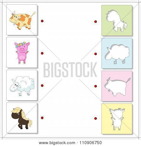 Cow, Pig, Sheep And Horse. Educational Game For Kids