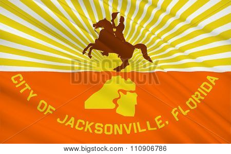 State Flag Of Jacksonville - Most Populous City In The Us State Of Florida