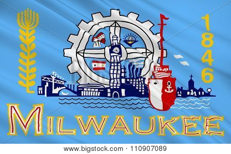 State Flag Of Milwaukee - The City In The North Of The United States