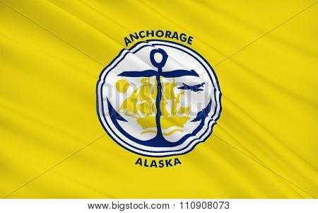 State Flag Of Anchorage - A City In The United States, Located In The Southern Part Of Alaska.