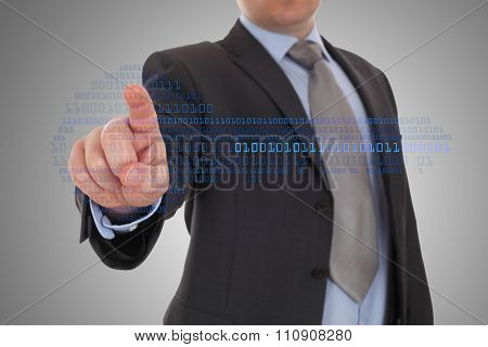 Businessman hand pointing binary codes , digital touchscreen