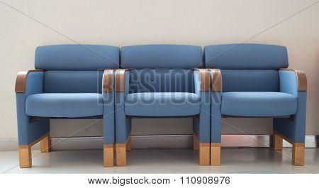 Waiting Room Blue Chairs, Door On The Floor