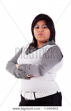 Portrait Of A Latin Big Girl. Isolated Over White, Studio Shot