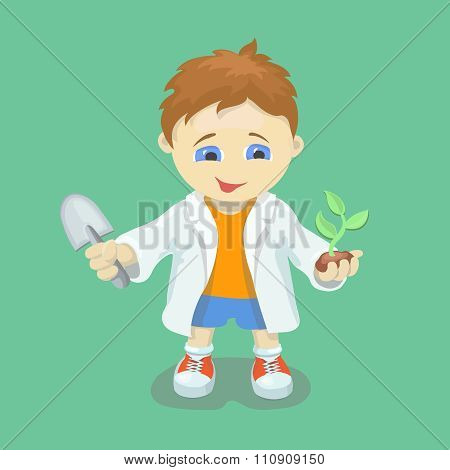 Boy doing biological experiments. Young scientist. Kid  holding green sprout  in hands. Vector