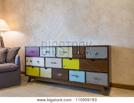 Shabby Chic Style Commode With Colorfull Drawers