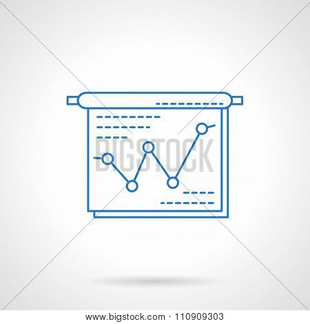 Project presentation blue flat line vector icon