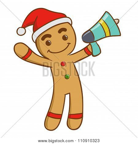 Ginger Bread Man Holding A Loud Speaker