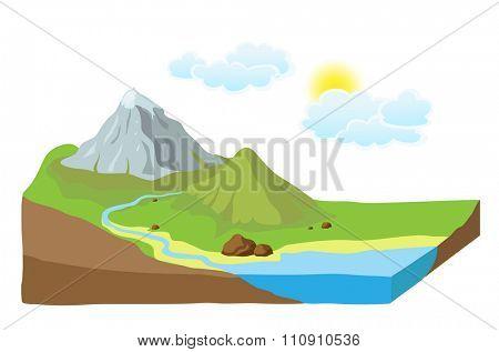 Earth slice with landscape, illustration