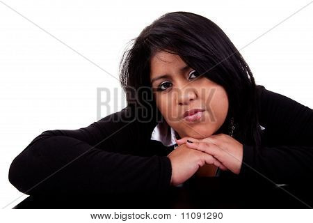Thinking Large  Latin Woman, Isolated On  White Studio Shot
