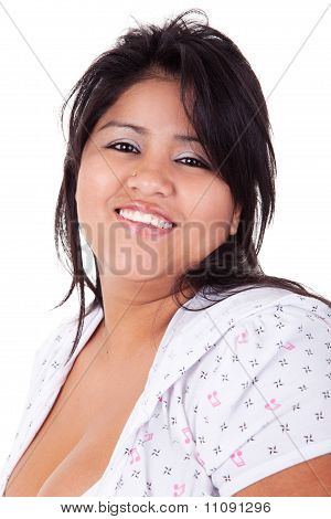 Happy And Casually Dressed Large  Latin Woman, Isolated On  White Studio Shot
